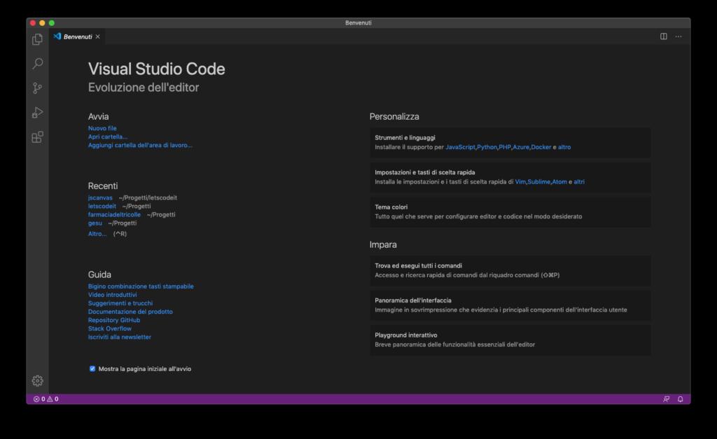 Pagina iniziale di VS Code, l'editor di codice per programmare