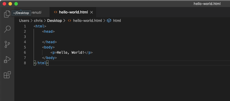 La nostra pagina web in codice HTML, il risultato del nostro primo esperimento di programmazione
